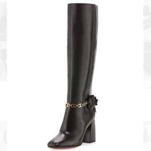 Tory Burch Leather Stacked Heel Boots NWT